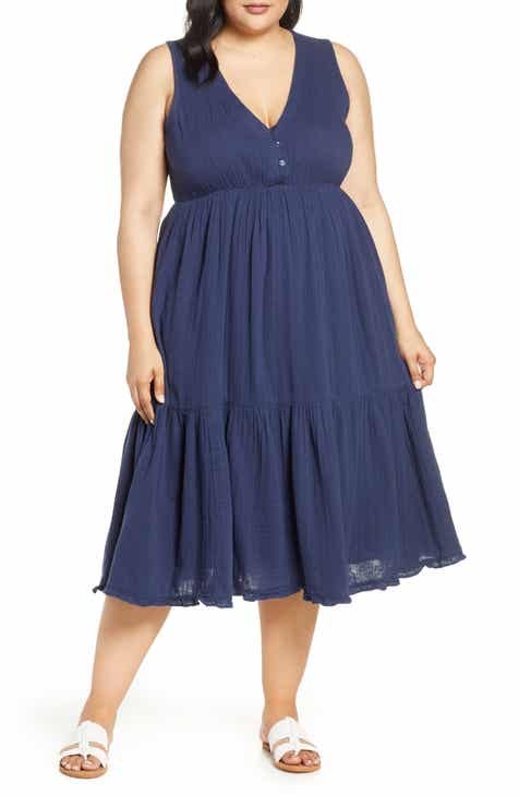 Lucky Brand Cotton Gauze Midi Dress (Plus Size) by LUCKY BRAND