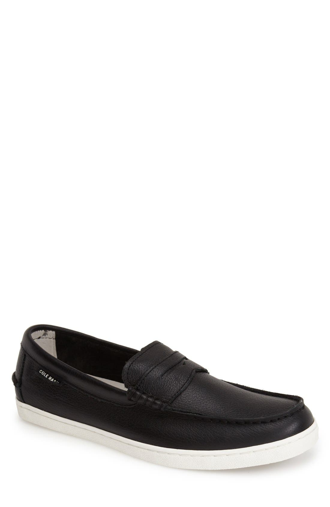 'Pinch' Penny Loafer,                             Main thumbnail 1, color,                             Black Leather/ White