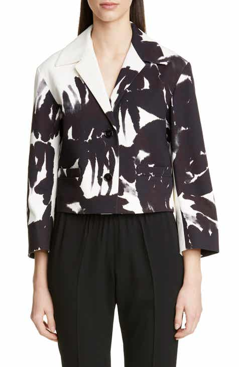 Dries Van Noten Volvic Brush Print Crop Jacket by DRIES VAN NOTEN