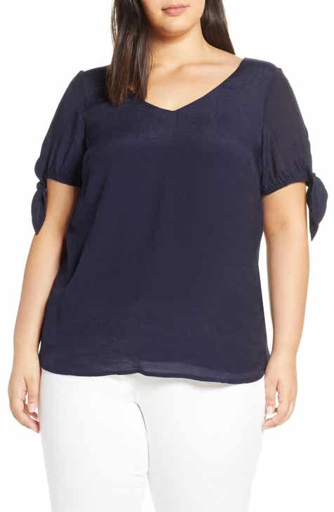 Estelle Shoreline Tie Sleeve Top (Plus Size)