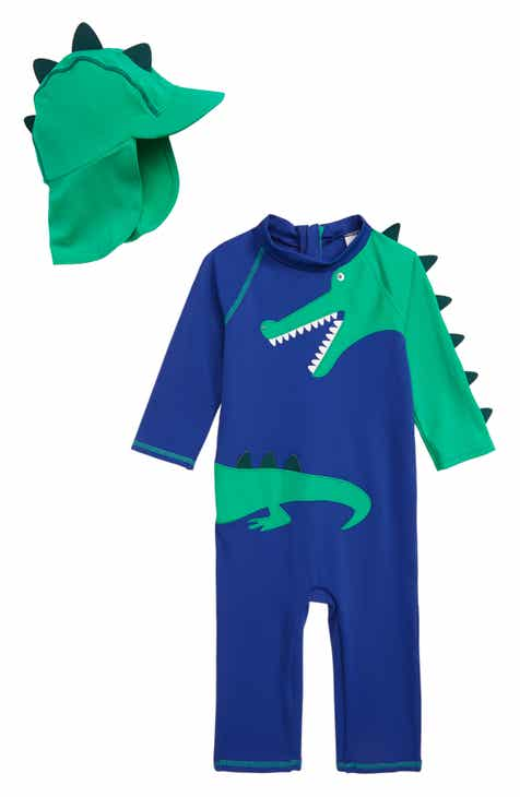 51b170bd4e Mini Boden Dinosaur Surf Suit One-Piece Rashguard Swimsuit & Sun Hat Set (Toddler  Boys)