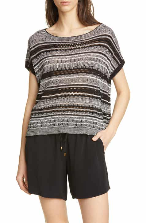 Eileen Fisher Stripe Short Sleeve Organic Cotton Blend Sweater by EILEEN FISHER