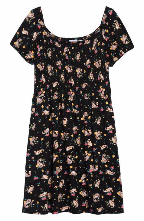 3695b2fa38 Love Fire Smocked Floral Print Skater Dress (Big Girls)