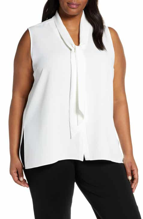 Ming Wang Tie Neck Blouse (Plus Size)