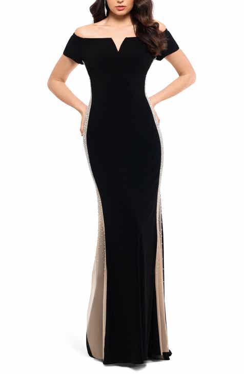 b7a79029 Xscape Caviar Bead Detail Off the Shoulder Gown