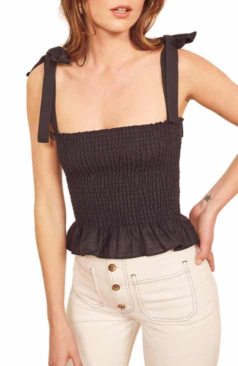 874162871bf43d Reformation Valley Tie Shoulder Smocked Linen Top