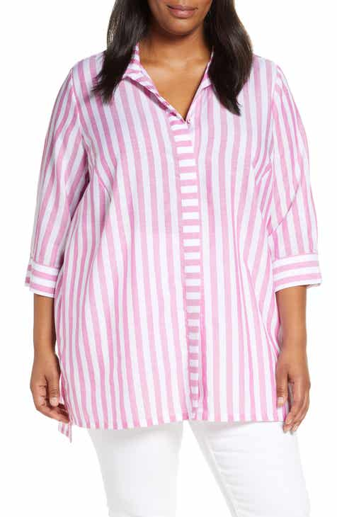 b773955db59 Foxcroft Skye Stripe Tunic Shirt (Plus Size)