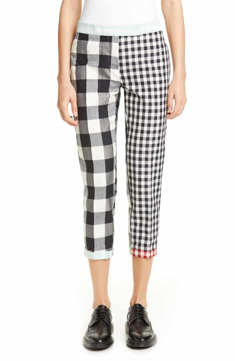 Thom Browne Mixed Gingham Wool Blend Skinny Pants by THOM BROWNE
