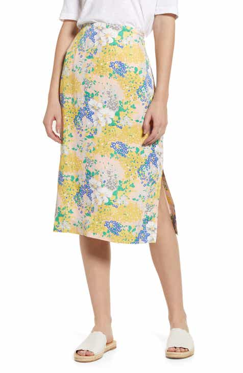 J.Crew Lemon Floral Midi Slip Skirt by J.CREW