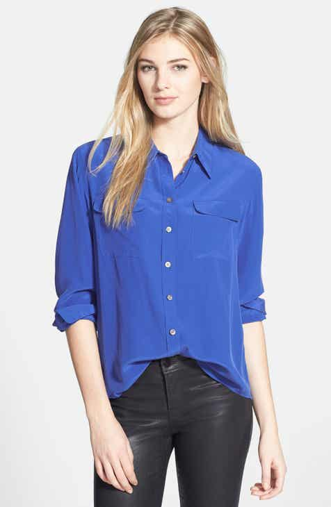 acbf35167d2e5b Two by Vince Camuto Silk Utility Blouse (Regular   Petite)