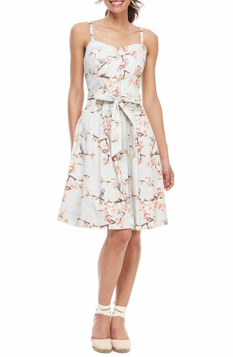 Gal Meets Glam Collection Daphne Cherry Blossom Button Front Sundress