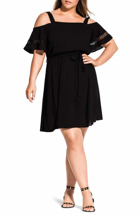 f4a02eb2dd9 City Chic Cold Shoulder Embroidered Dress (Plus Size)