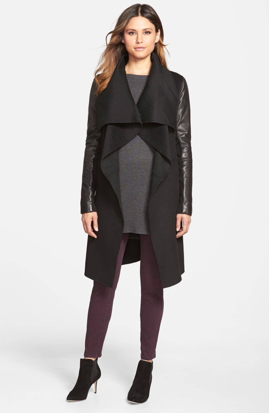 Wool Blend Coat with Leather Sleeves,                             Main thumbnail 1, color,                             Black