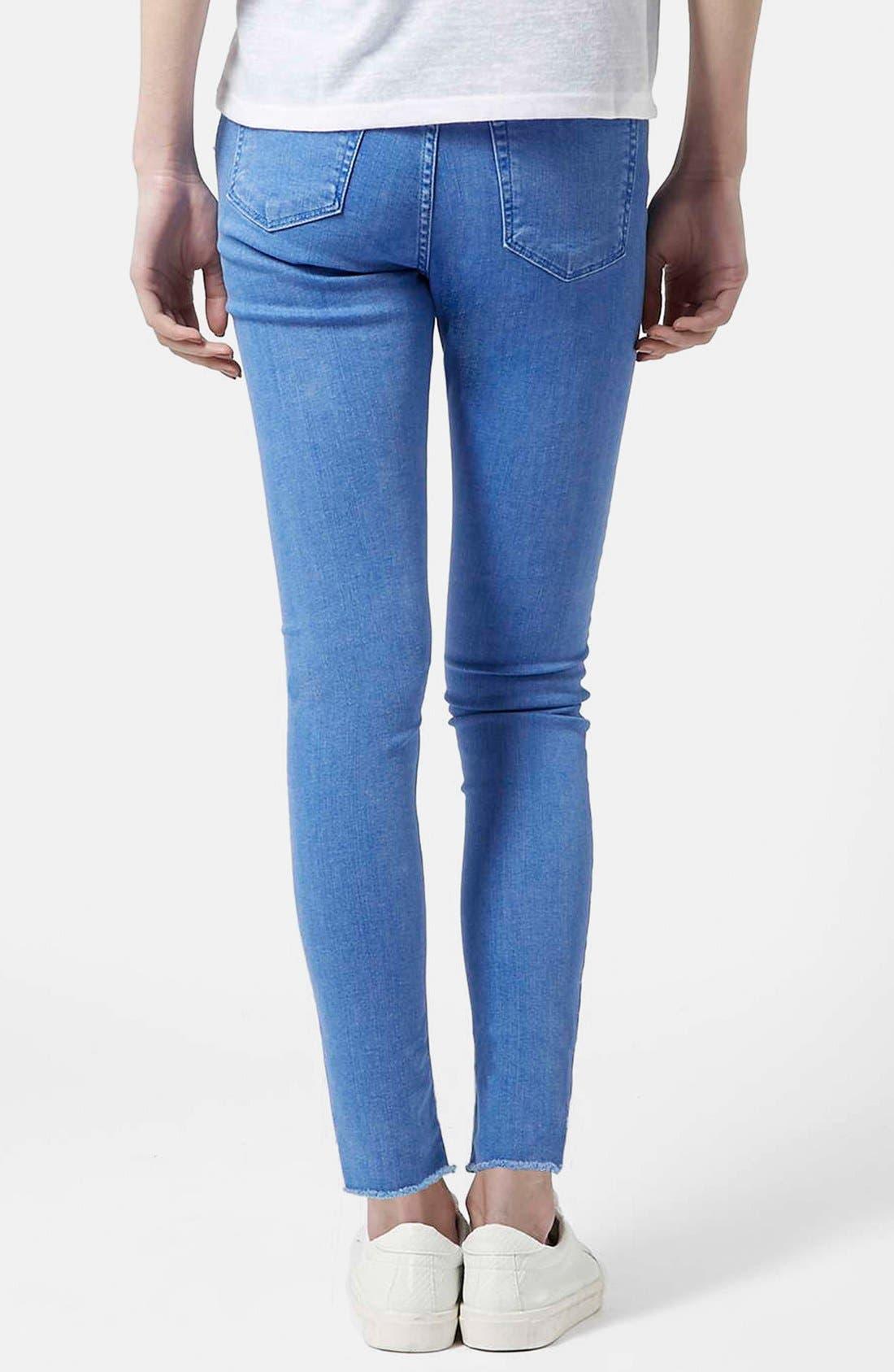 Alternate Image 2  - Topshop Moto 'Jamie' High Waist Skinny Jeans (Blue) (Short)