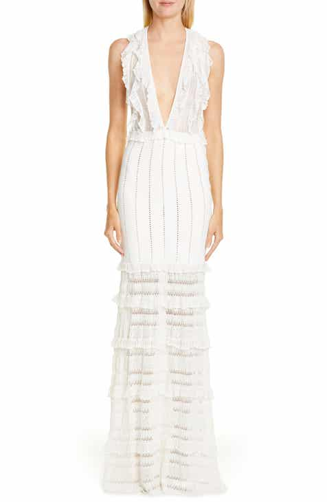 Zuhair Murad Chrysalis Plunge Neck Tiered Knit Gown