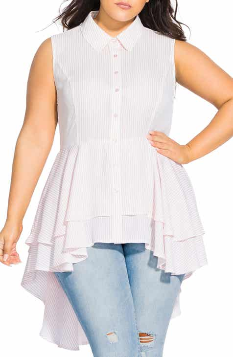 City Chic High/Low Ruffle Shirt (Plus Size)