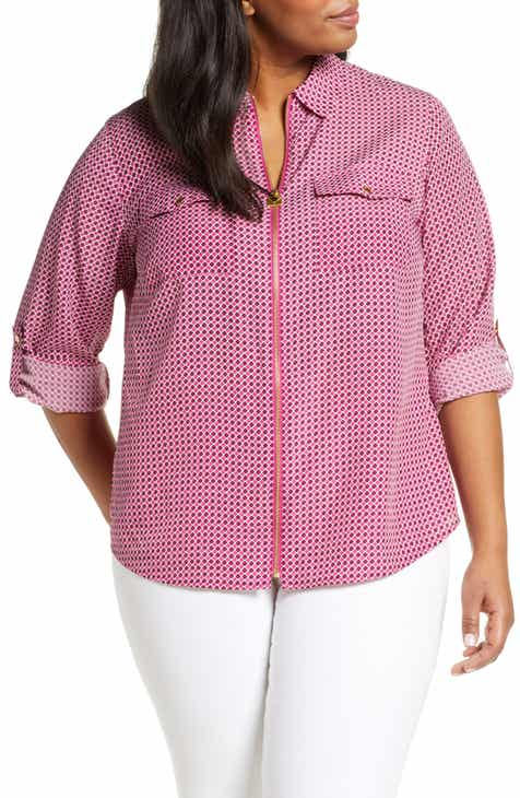 136841f97f86e MICHAEL Michael Kors Bias Tile Print Mini Lock Zip Front Shirt (Plus Size)