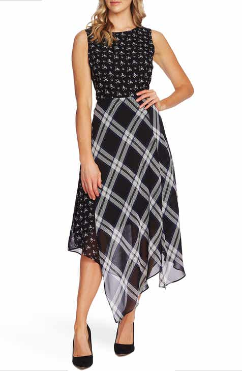 Vince Camuto Pattern Mix Sleeveless Handkerchief Hem Dress