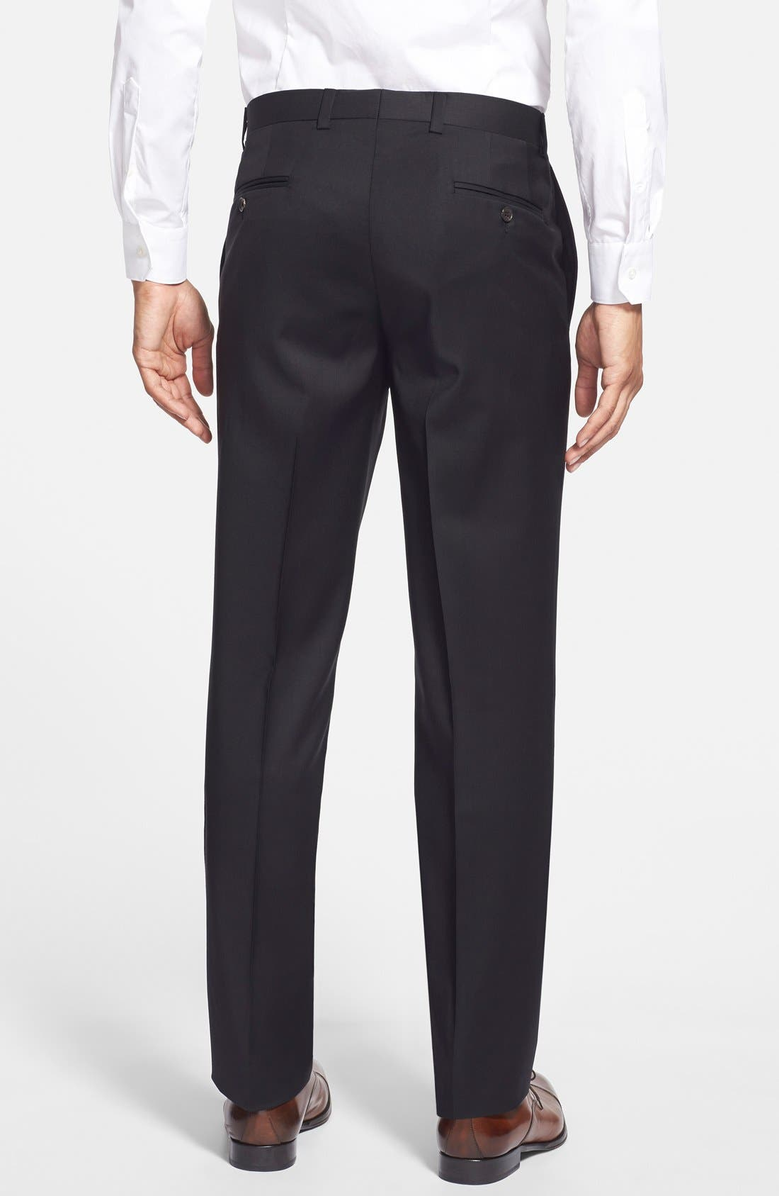 Jefferson Flat Front Wool Trousers,                             Alternate thumbnail 2, color,                             New Black