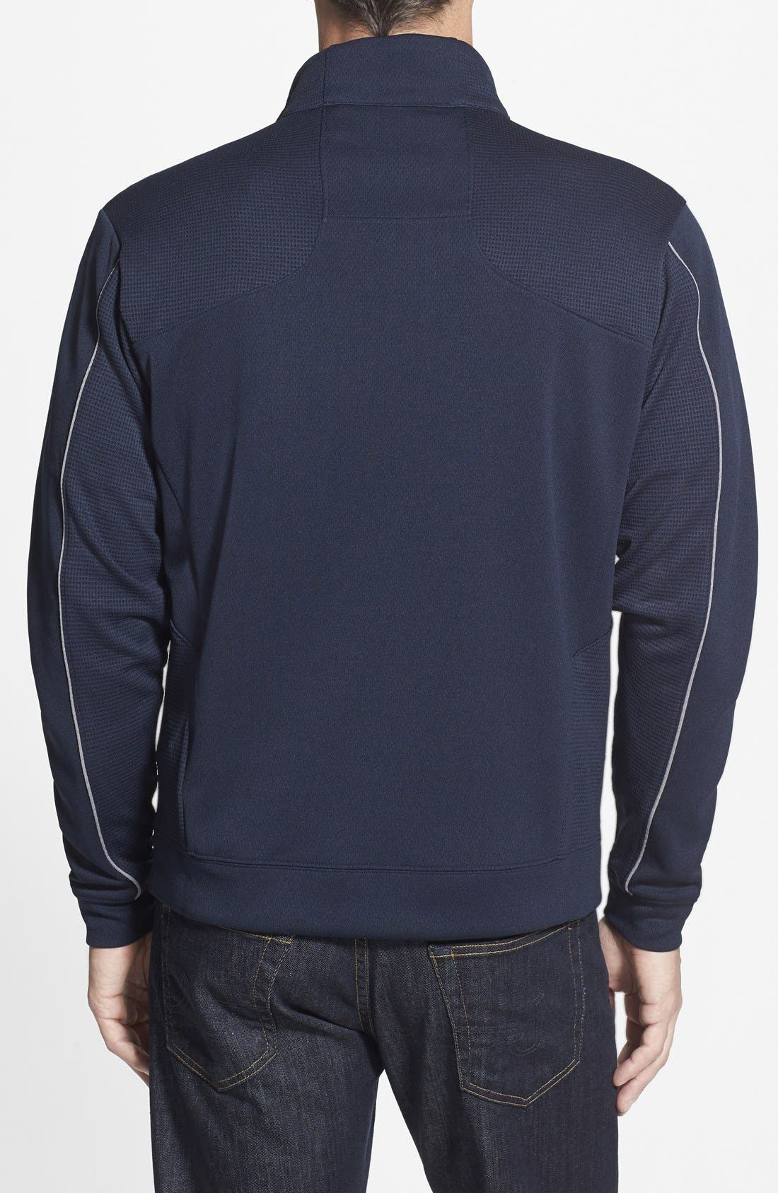 New England Patriots - Edge DryTec Moisture Wicking Half Zip Pullover,                             Alternate thumbnail 2, color,                             Navy Blue