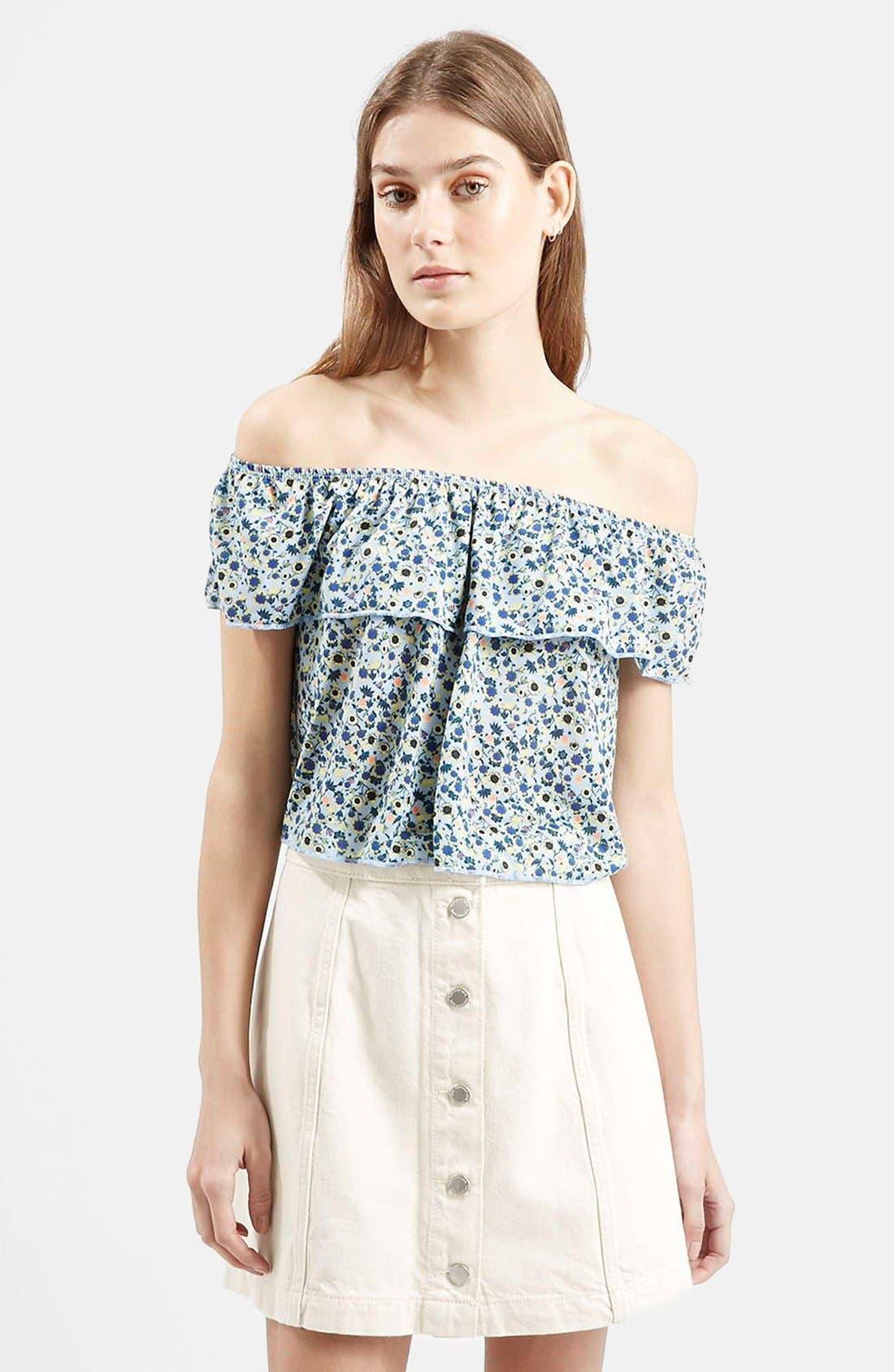 Main Image - Topshop Floral Print Off the Shoulder Top