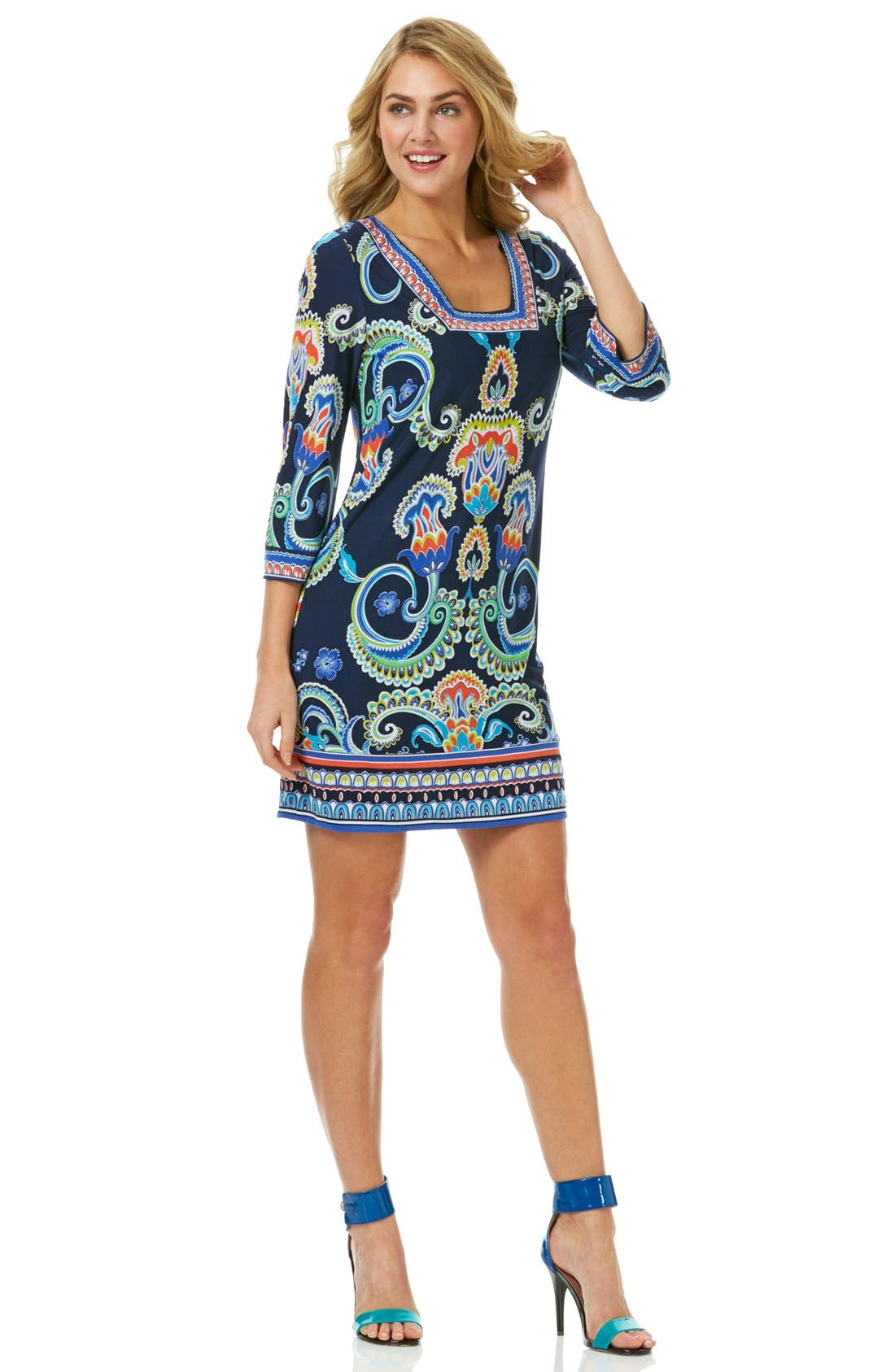 Laundry by Shelli Segal Print Jersey Square Neck Shift Dress (Regular & Petite)