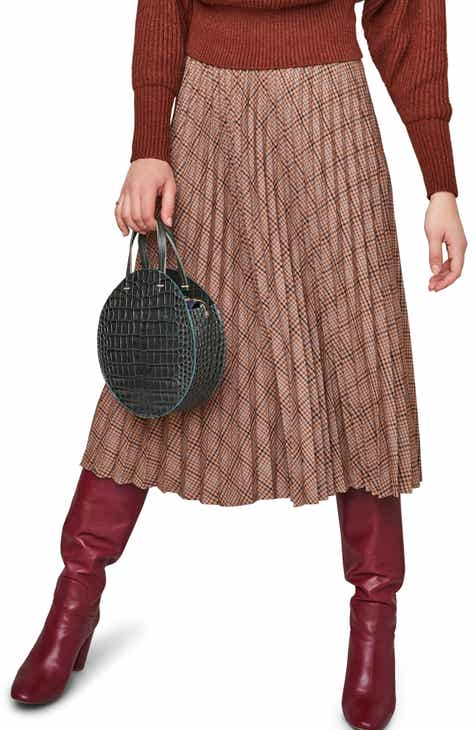ASTR the Label Nadiya Plaid Midi Skirt