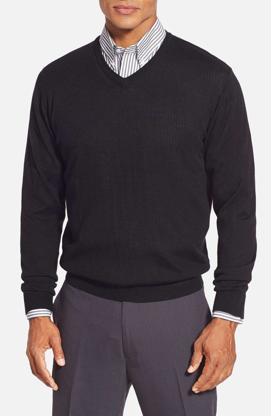 'Douglas' Merino Wool Blend V-Neck Sweater,                         Main,                         color, Black