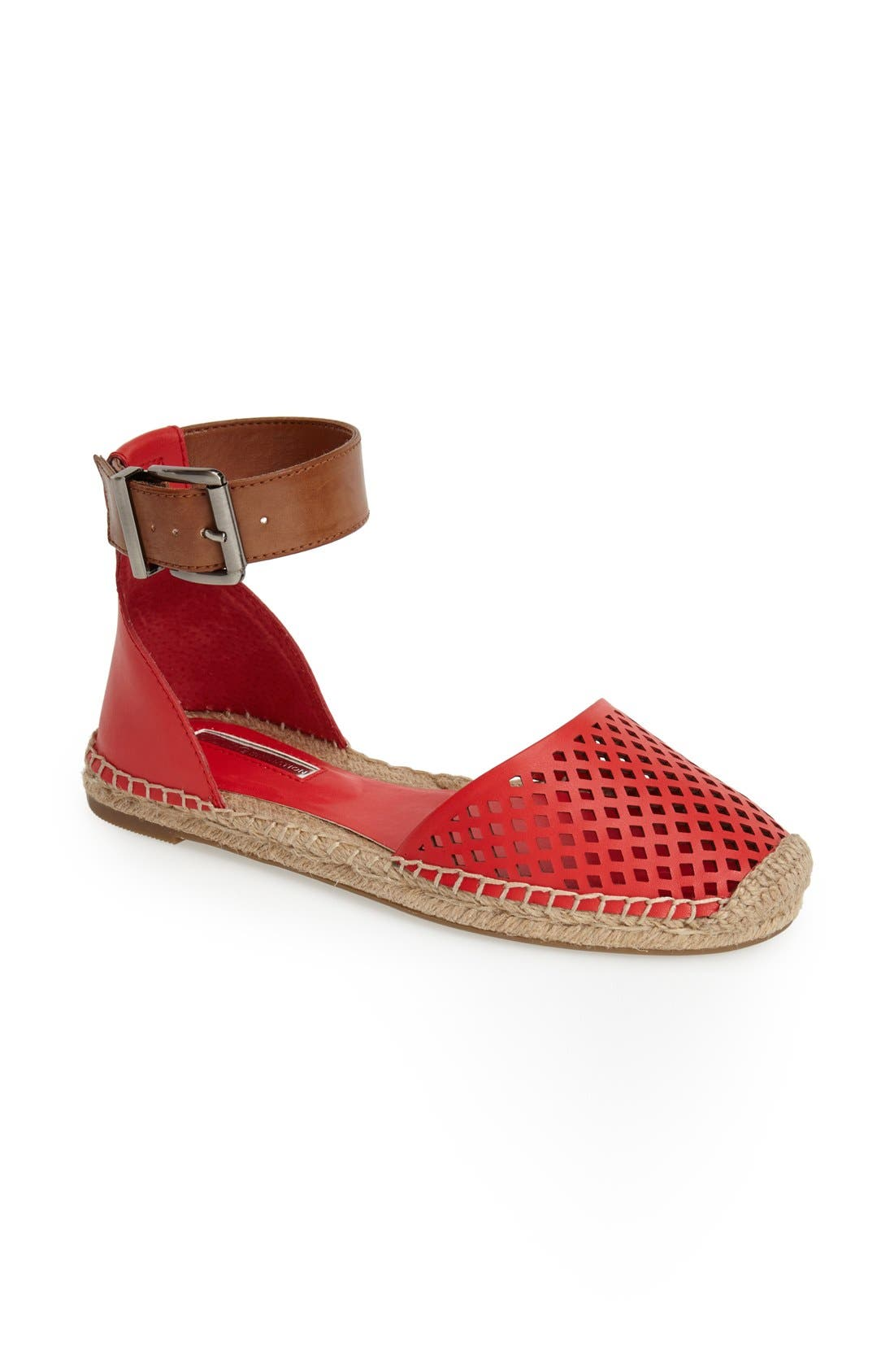 'Felicity 2' Ankle Strap Espadrille Flat,                             Main thumbnail 1, color,                             Passion/ Toffee