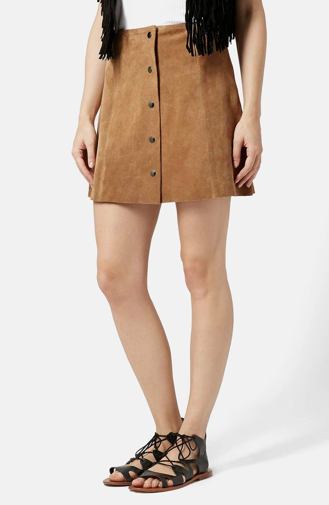 Suede A-Line Skirt,                         Main,                         color, Tan