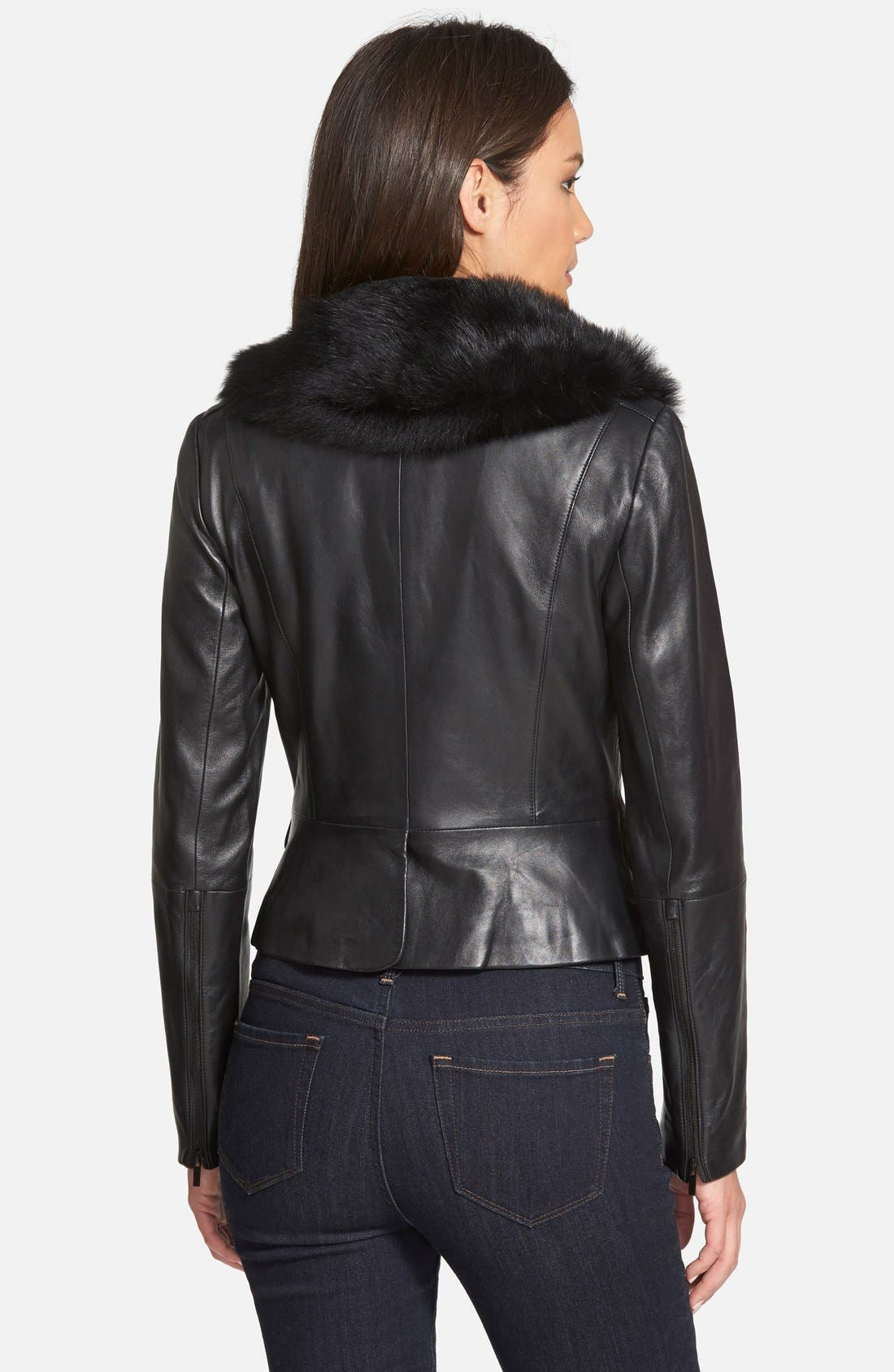 Alternate Image 2  - Classiques Entier® 'Brenna' Leather Jacket with Detachable Genuine Toscana Shearling Collar (Regular & Petite)