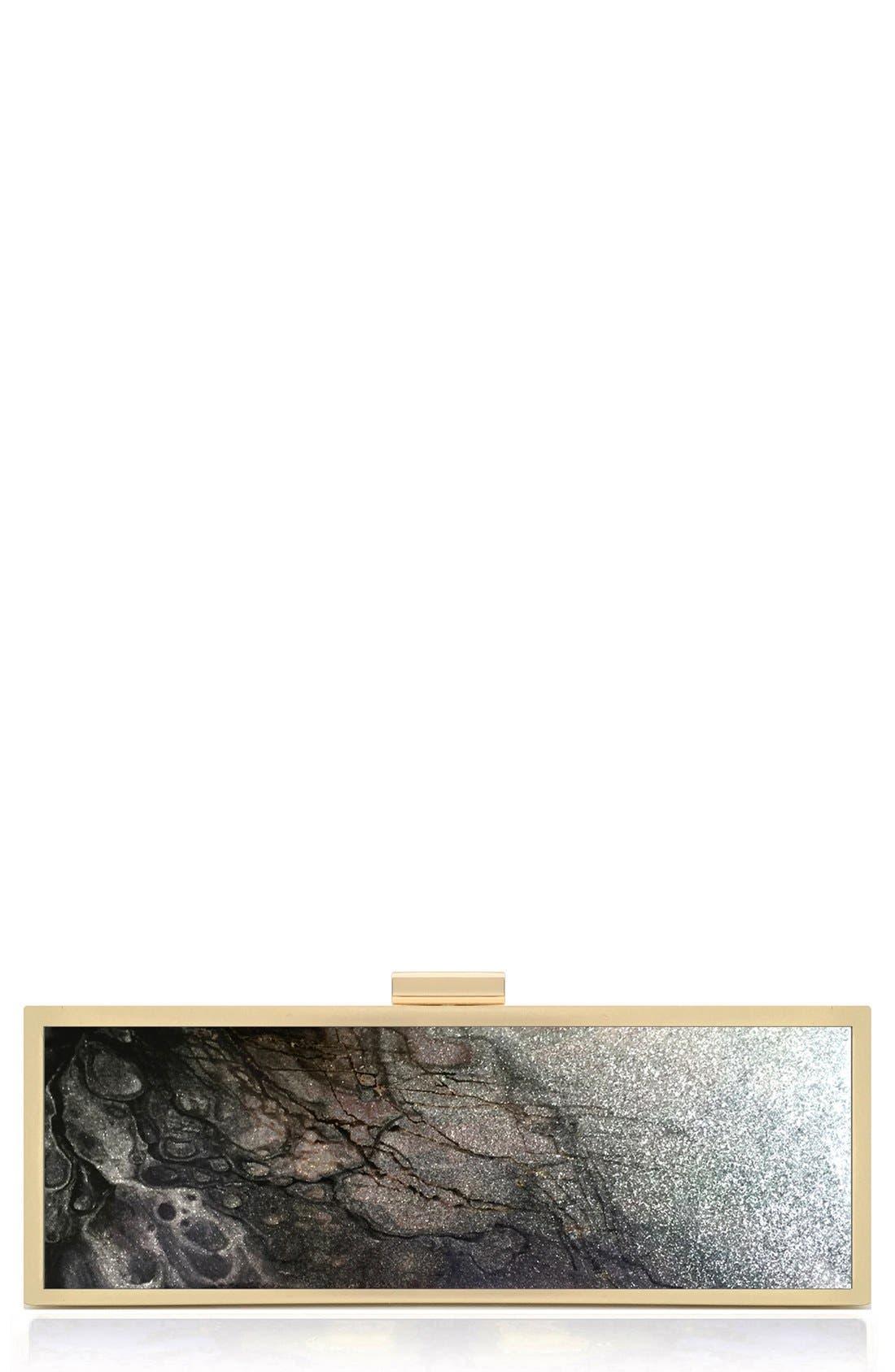 'Emergence' Box Clutch,                             Main thumbnail 1, color,                             Silver