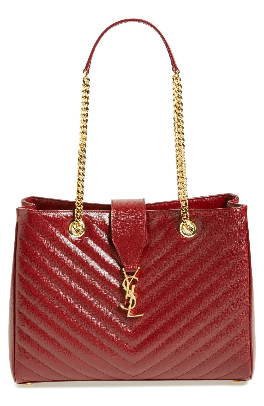 Main Image - Saint Laurent 'Monogram' Grained Leather Shopper