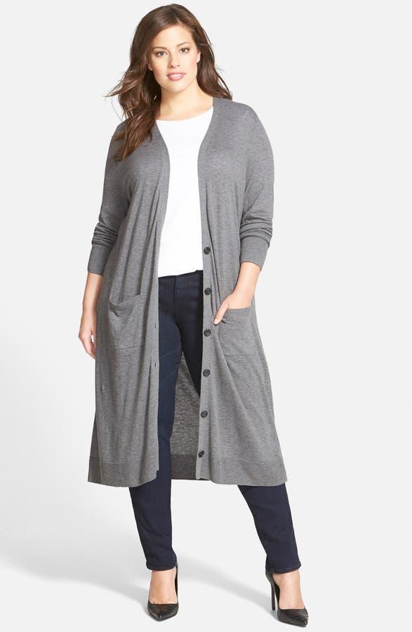 Halogen® Cotton Blend Duster Cardigan (Plus Size) | Nordstrom