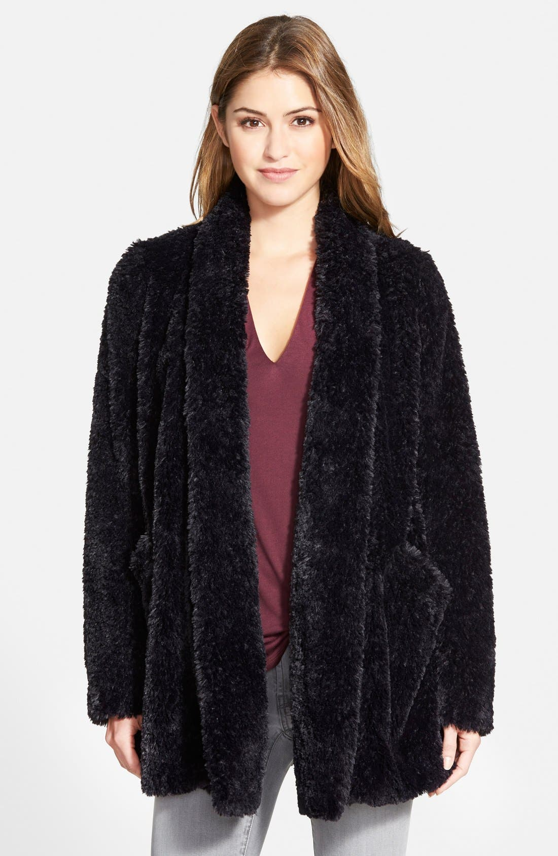 Main Image - Kenneth Cole New York 'Teddy Bear' Faux Fur Clutch Coat