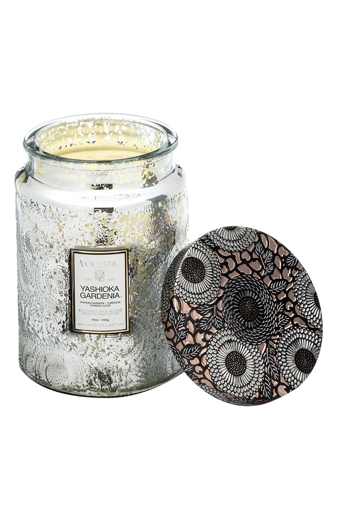 Japonica Yashioka Gardenia Large Embossed Glass Jar Candle,                         Main,                         color, Yashioka Gardenia