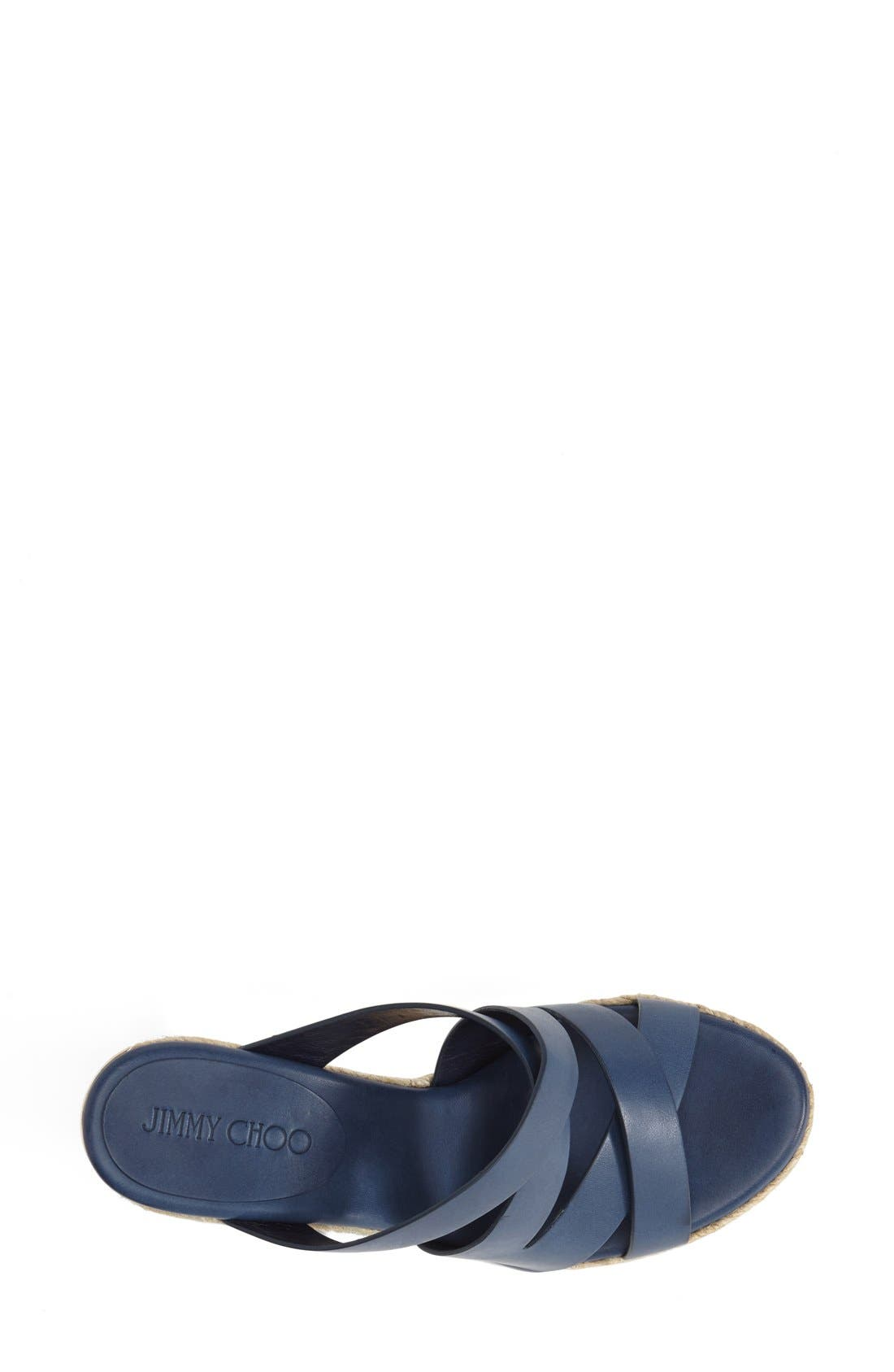'Prisma' Leather Wedge Sandal,                             Alternate thumbnail 3, color,                             Navy