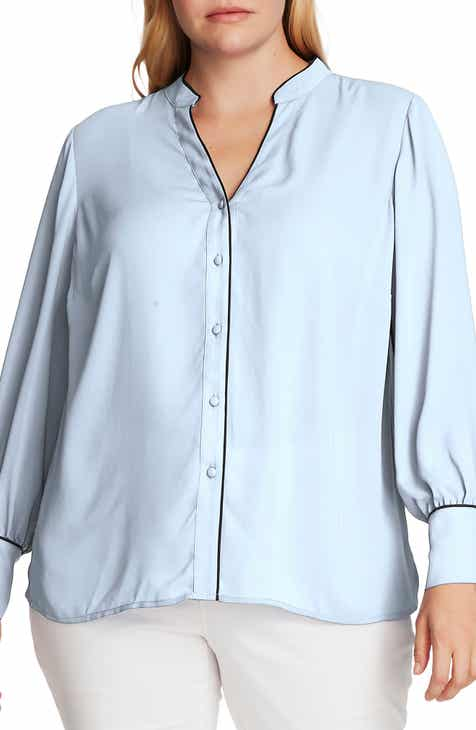Vince Camuto Piped Button-Up Shirt (Plus Size)
