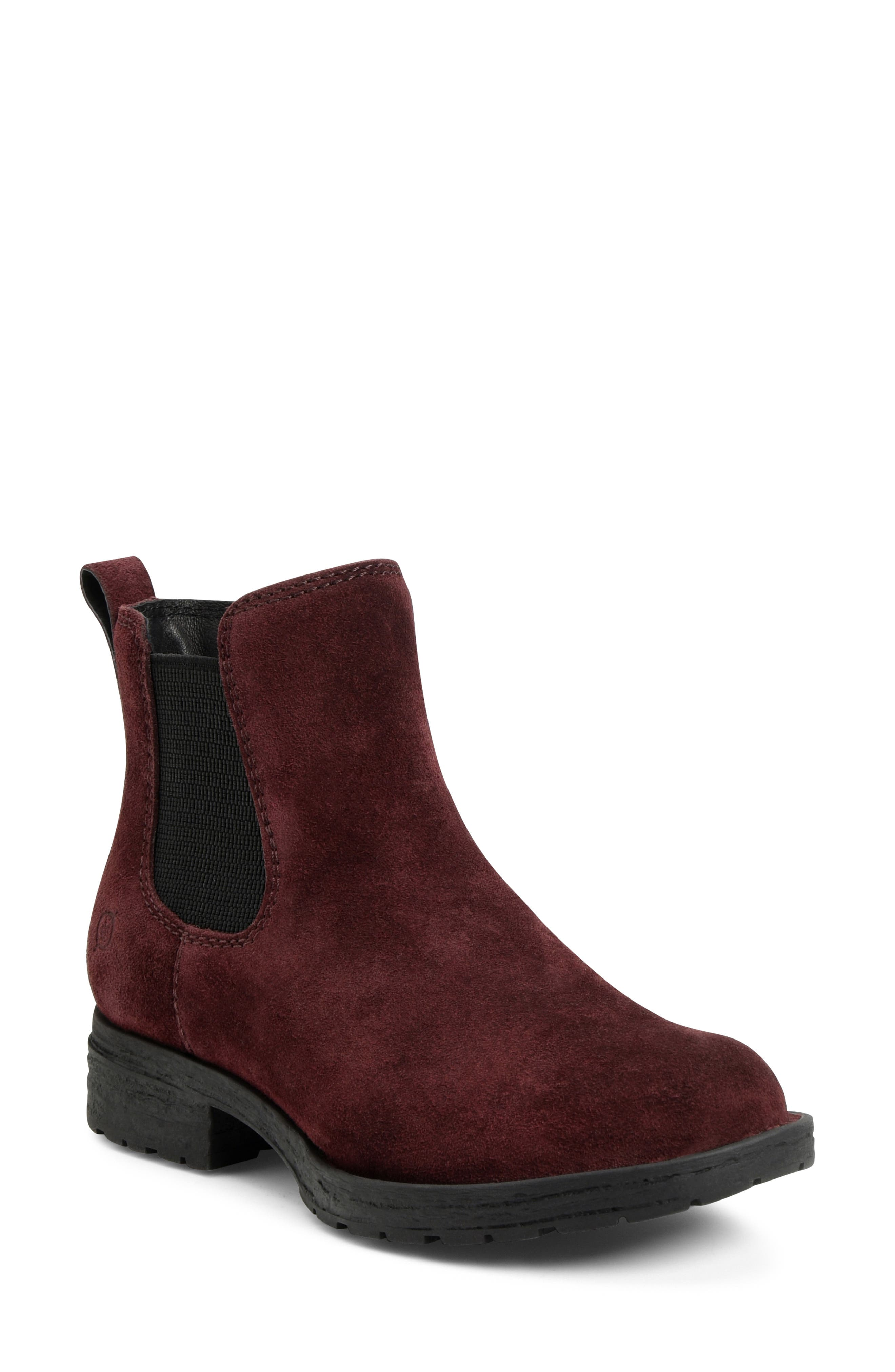 Ladies Ankle boots Chelsea Wine Burgundy Suede New Casual Girls