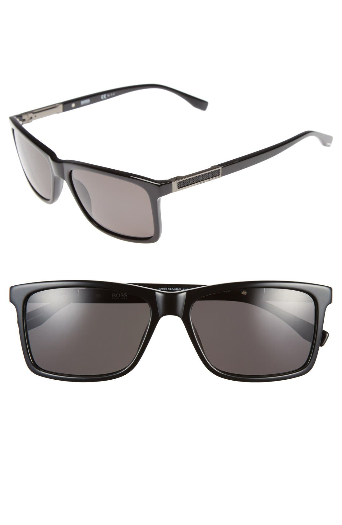 '0704PS' 57mm Polarized Sunglasses,                         Main,                         color, Black/ Dark Ruthen/ Grey