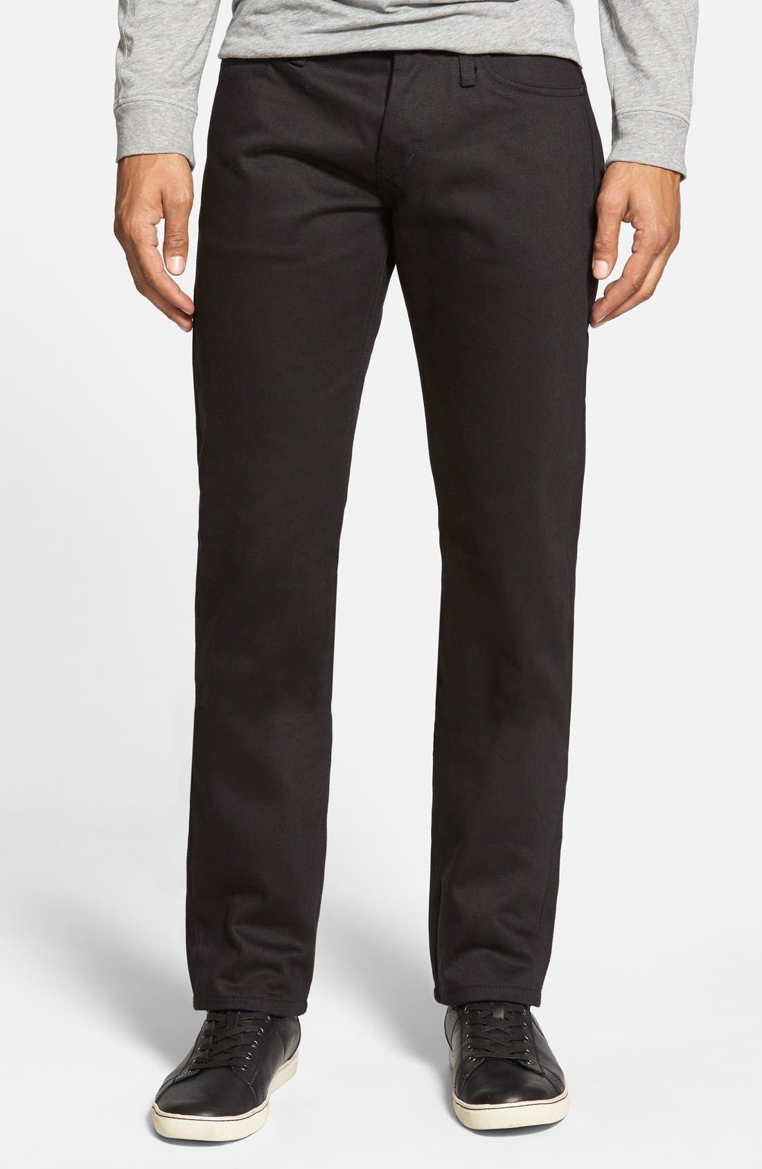 The Unbranded Brand 'UB255' Slim Tapered Fit Raw Selvedge Jeans (Black Selvedge)
