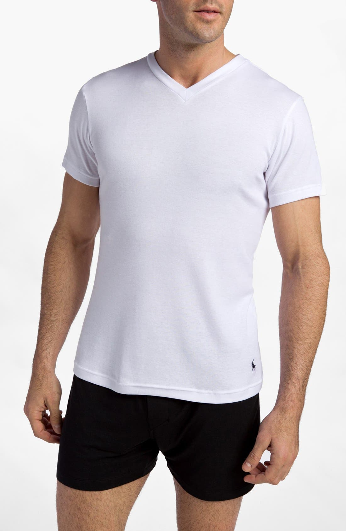 2-Pack V-Neck T-Shirt,                             Main thumbnail 1, color,                             White/ White
