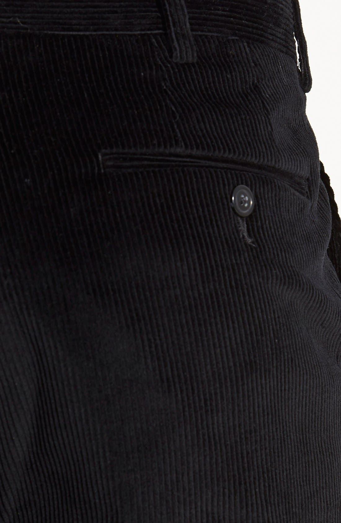 Flat Front Corduroy Trousers,                             Alternate thumbnail 3, color,                             Black
