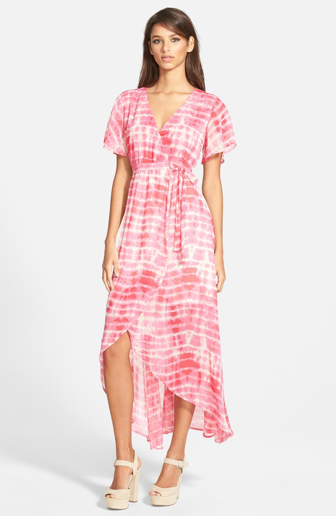 Alternate Image 1 Selected - June & Hudson Floral Print High/Low Wrap Dress