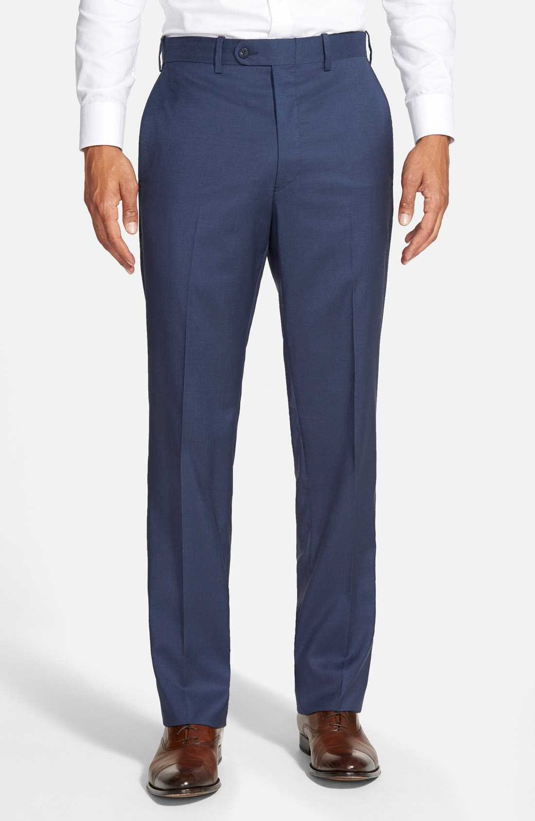 'Torino' Flat Front Wool Trousers,                         Main,                         color, French Blue