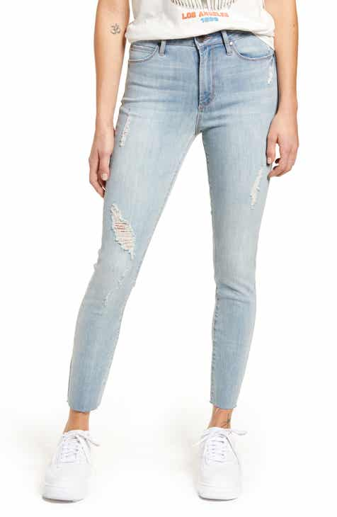 Articles of Society Heather High Waist Raw Hem Ankle Skinny Jeans (Cane)