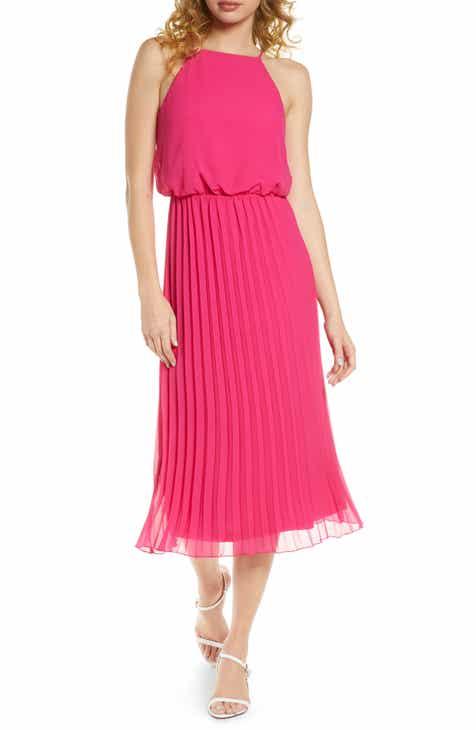 Sam Edelman Pleated Chiffon Midi Dress