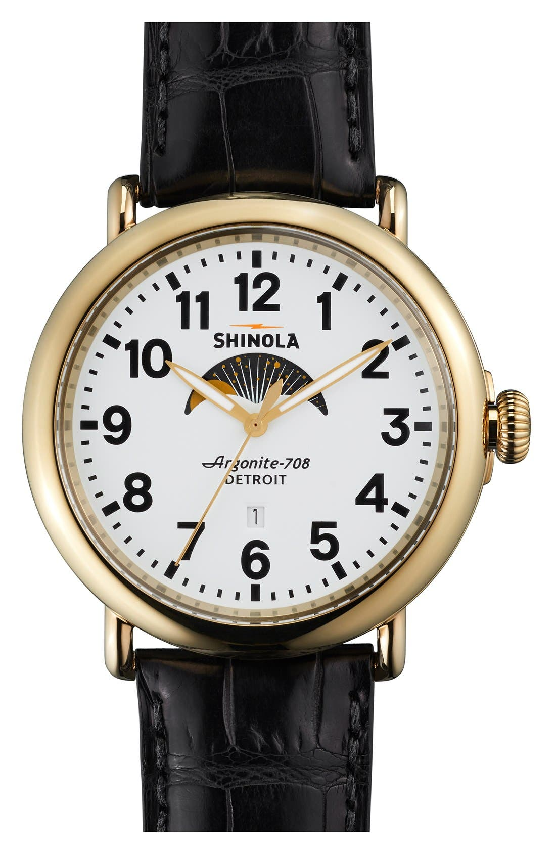Shinola 'The Runwell' Moon Phase Leather Strap Watch, 47mm