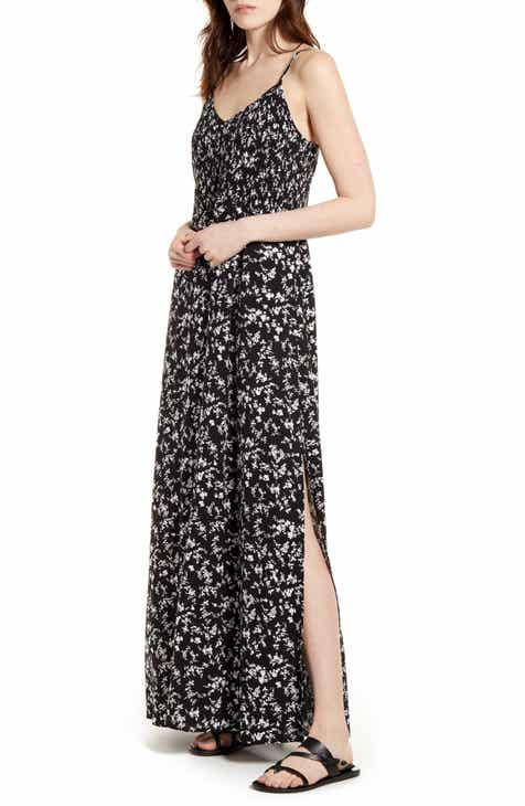 Band of Gypsies Floral Smock Waist Sleeveless Maxi Dress