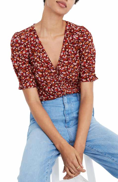 Madewell Spring Prairie Button Sleeve Silk Top